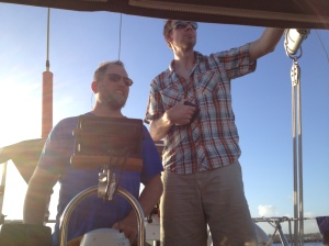 """Travis and Eric (a temporary """"first mate""""!)"""