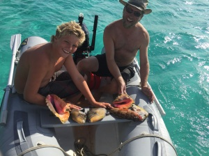 Two conch, two trigger fish, a grouper and a porgy.