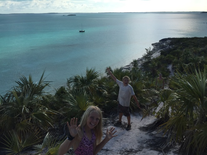 On our way up to the highest point in the Exumas...Schemma is in the backgrounder.